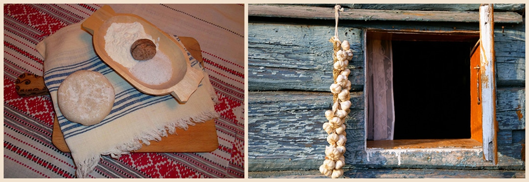 Dough of Indrei and garlic hanging to protect households